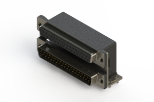664-037-664-035 - Right-angle Dual Port D-Sub Connector
