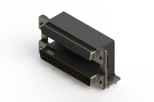 664-037-664-038 - Right-angle Dual Port D-Sub Connector